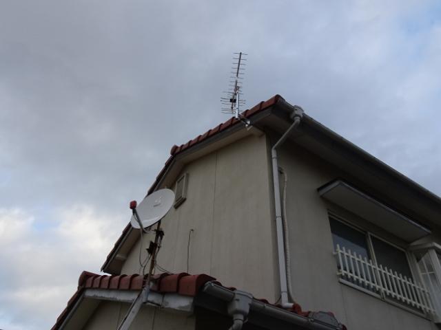 地デジアンテナを2階屋根へ移設